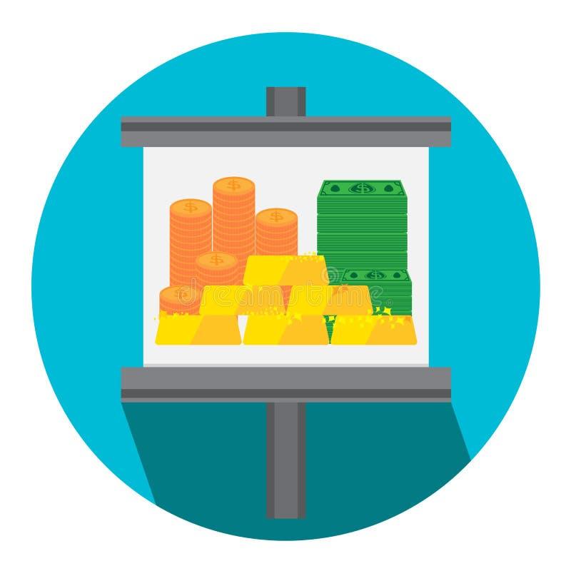 Διανυσματικά χρυσά χρήματα απεικόνισης για το εικονίδιο χρηματοδότησης ελεύθερη απεικόνιση δικαιώματος