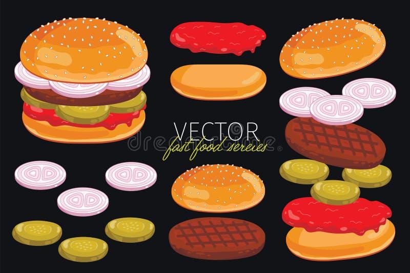 Διανυσματικά burgers στο μαύρο υπόβαθρο ελεύθερη απεικόνιση δικαιώματος