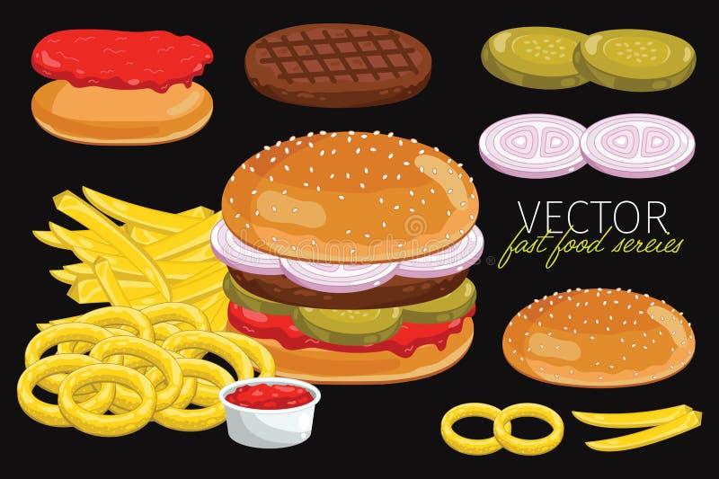 Διανυσματικά burgers στο μαύρο υπόβαθρο απεικόνιση αποθεμάτων