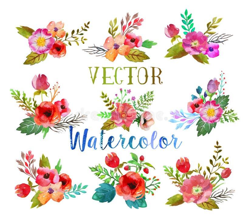 Διανυσματικά buttonholes watercolor ελεύθερη απεικόνιση δικαιώματος
