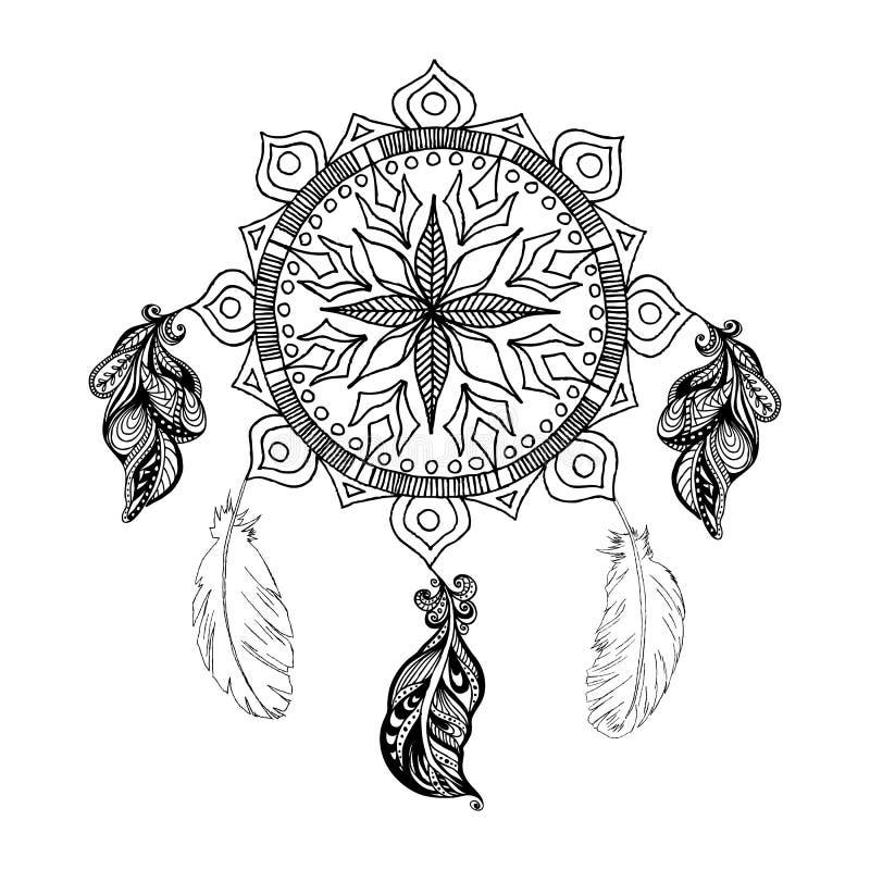 Διανυσματικά catcher και φτερά ονείρων mandala r απεικόνιση αποθεμάτων