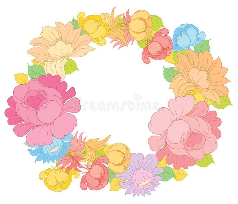 Διανυσματικά floral πλαίσιο ή σύνορα σχεδίων χεριών απεικόνιση αποθεμάτων