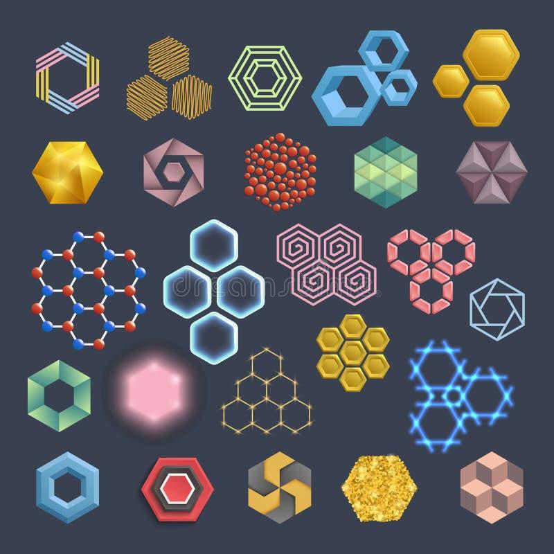 Διανυσματικά hexagon στοιχεία σχεδίου εικονιδίων Διαφορετικό κυψελωτό γραφικό σύνολο τεχνολογιών κυψελωτών αφηρημένο εικονιδίων γ διανυσματική απεικόνιση