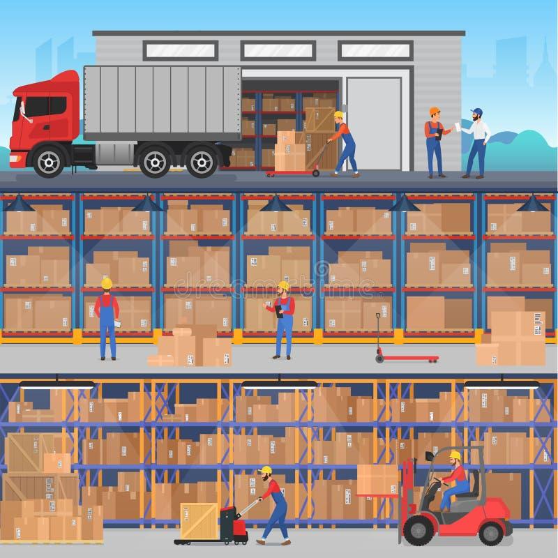 Διανυσματικά horisontal επίπεδα εμβλήματα έννοιας με το εσωτερικό και το εξωτερικό αποθηκών εμπορευμάτων με τους εργαζομένους, τα ελεύθερη απεικόνιση δικαιώματος