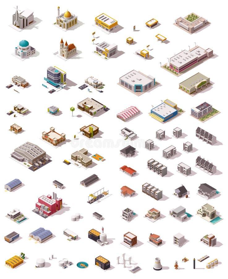 Διανυσματικά isometric κτήρια καθορισμένα ελεύθερη απεικόνιση δικαιώματος