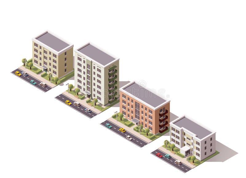 Διανυσματικά isometric κτήρια καθορισμένα διανυσματική απεικόνιση