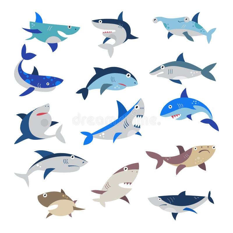 Διανυσματικά seafish κινούμενων σχεδίων καρχαριών με τα αιχμηρά δόντια στο σύνολο απεικόνισης σαγονιών επιτιθειμένος χαρακτήρα αλ διανυσματική απεικόνιση