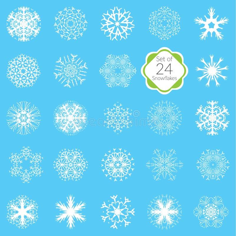 Διανυσματικά snowflakes απεικόνισης καθορισμένα, τα διάφορα κρύσταλλα χιονιού σχεδίων συμμετρικά, έκαναν forom συρμένα τα χέρι στ ελεύθερη απεικόνιση δικαιώματος