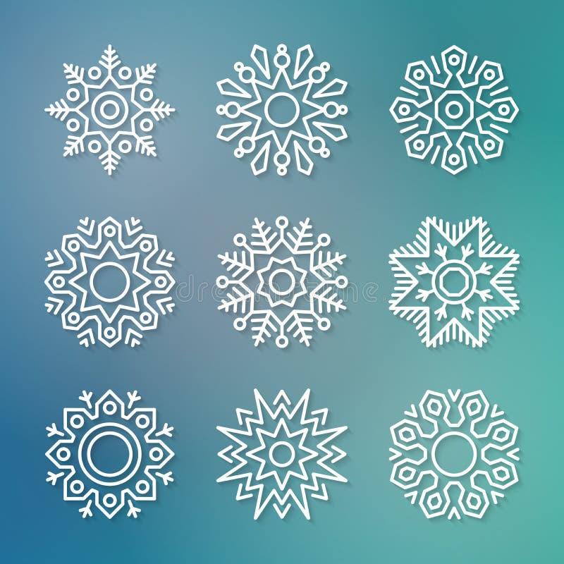 Διανυσματικά snowflakes γραμμών Χριστουγέννων επίπεδα ελεύθερη απεικόνιση δικαιώματος