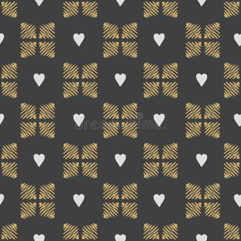 Διανυσματικές άνευ ραφής καρδιές προτύπων Το ύφος doodle απεικόνιση αποθεμάτων