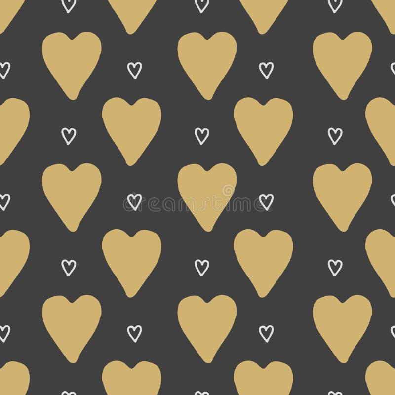 Διανυσματικές άνευ ραφής καρδιές προτύπων Το ύφος doodle ελεύθερη απεικόνιση δικαιώματος