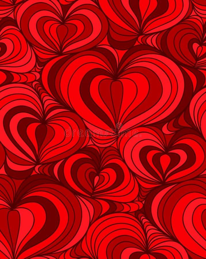 Διανυσματικές άνευ ραφής συρμένες χέρι καρδιές υποβάθρου διανυσματική απεικόνιση