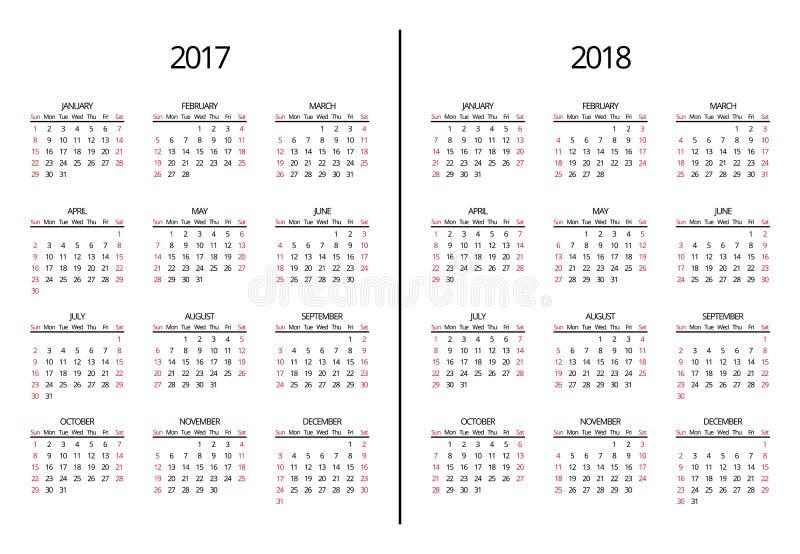 Διανυσματικές έτος του 2017 και ημερολογιακή σελίδα του 2018 Απλός μηνιαίος ελεύθερη απεικόνιση δικαιώματος