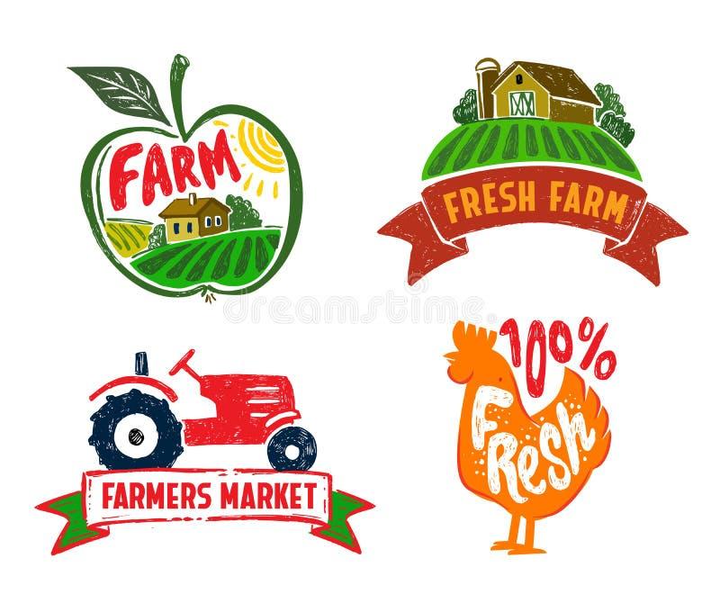 Διανυσματικές αγροτικές ετικέτες διανυσματική απεικόνιση