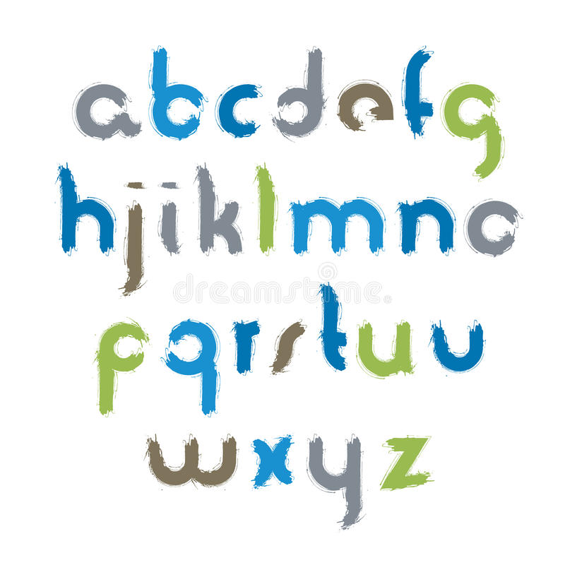 Διανυσματικές ακρυλικές επιστολές αλφάβητου καθορισμένες, hand-drawn ζωηρόχρωμο χειρόγραφο, ελεύθερη απεικόνιση δικαιώματος