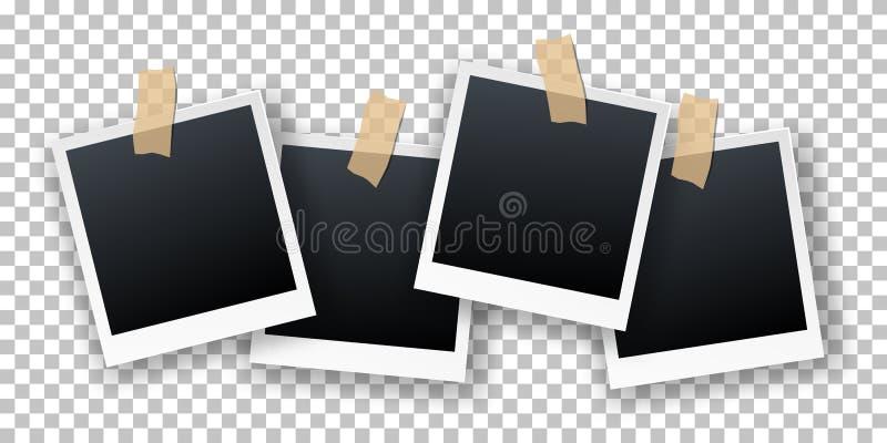 Διανυσματικές αναδρομικές ρεαλιστικές στιγμιαίες κάρτες φωτογραφιών που κρεμούν στην κολλώδη ταινία που απομονώνεται στο διαφανές απεικόνιση αποθεμάτων