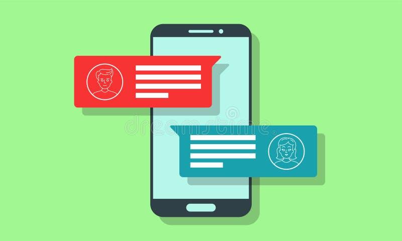 Διανυσματικές ανακοινώσεις κειμένων αγγελιοφόρων μηνυμάτων συνομιλίας διανυσματική απεικόνιση