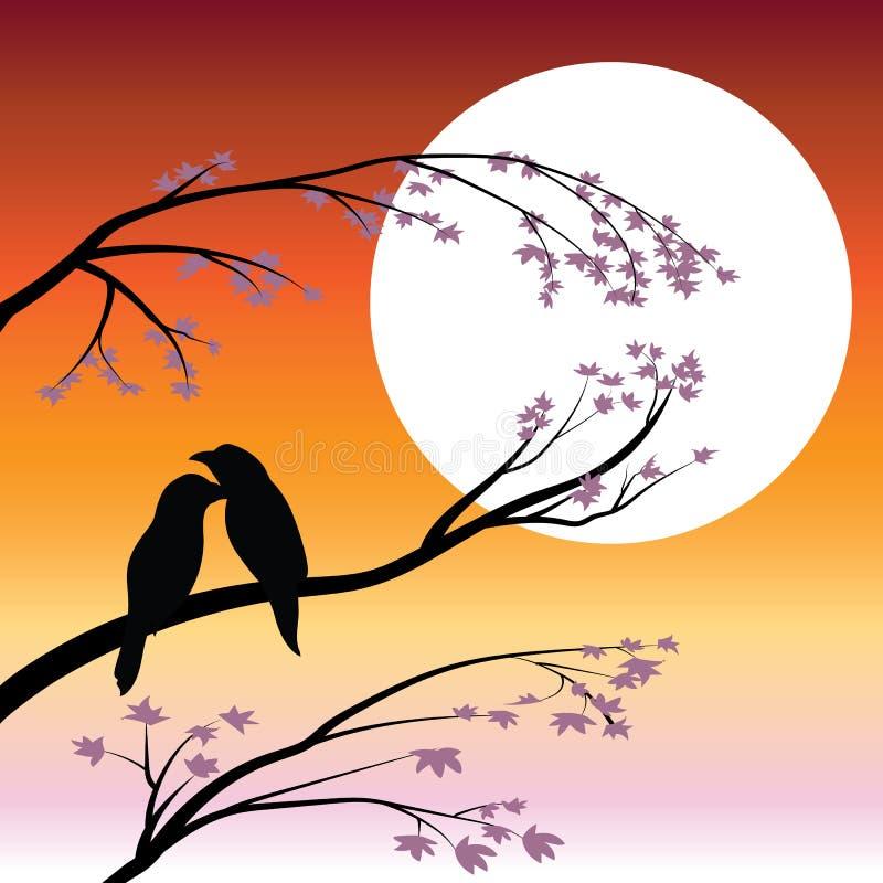 Διανυσματικές απεικονίσεις, εραστές πουλιών στοκ εικόνες