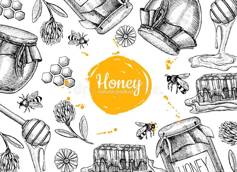 Διανυσματικές απεικονίσεις πλαισίων μελιού συρμένες χέρι Βάζο, μέλισσα, κηρήθρα διανυσματική απεικόνιση