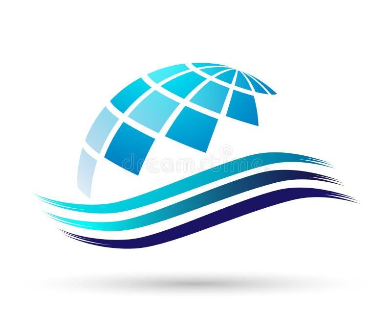 Διανυσματικές απεικονίσεις σχεδίου στοιχείων εικονιδίων λογότυπων κυμάτων παγκόσμιου θαλάσσιου νερού σφαιρών στο άσπρο υπόβαθρο ελεύθερη απεικόνιση δικαιώματος