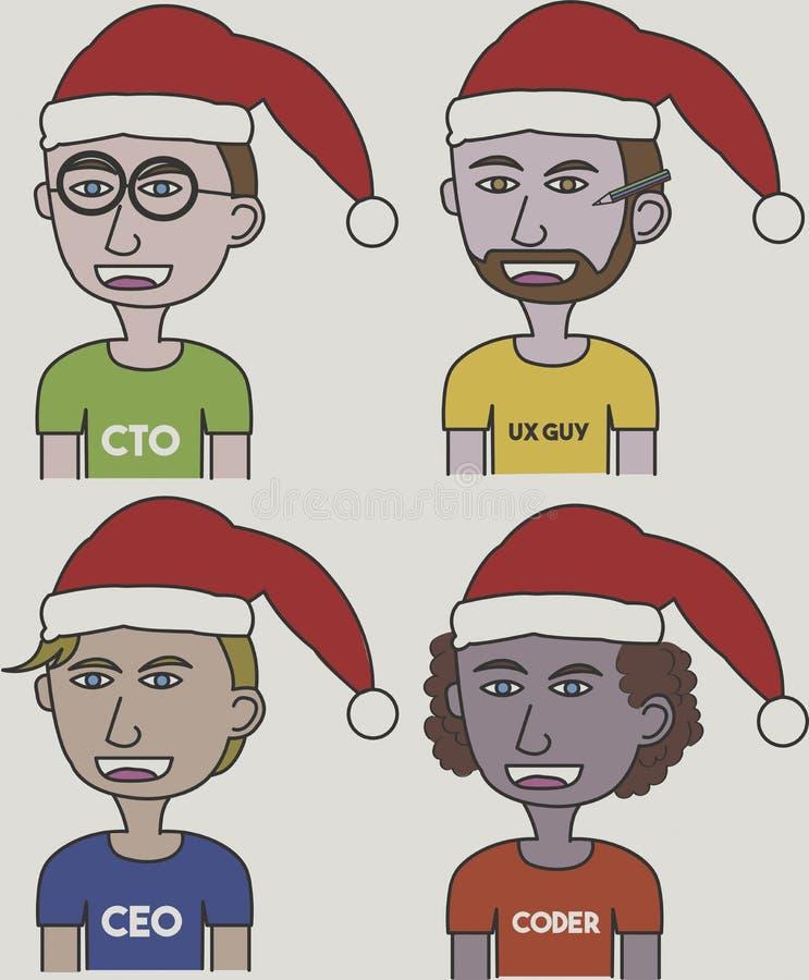 Διανυσματικές απεικονίσεις της ομάδας ξεκινήματος που χρησιμοποιεί το καπέλο Santa για τα Χριστούγεννα απεικόνιση αποθεμάτων