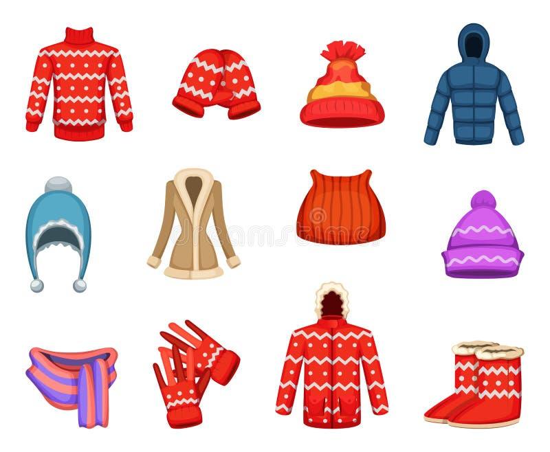 Διανυσματικές απεικονίσεις της συλλογής χειμερινών ενδυμάτων ελεύθερη απεικόνιση δικαιώματος