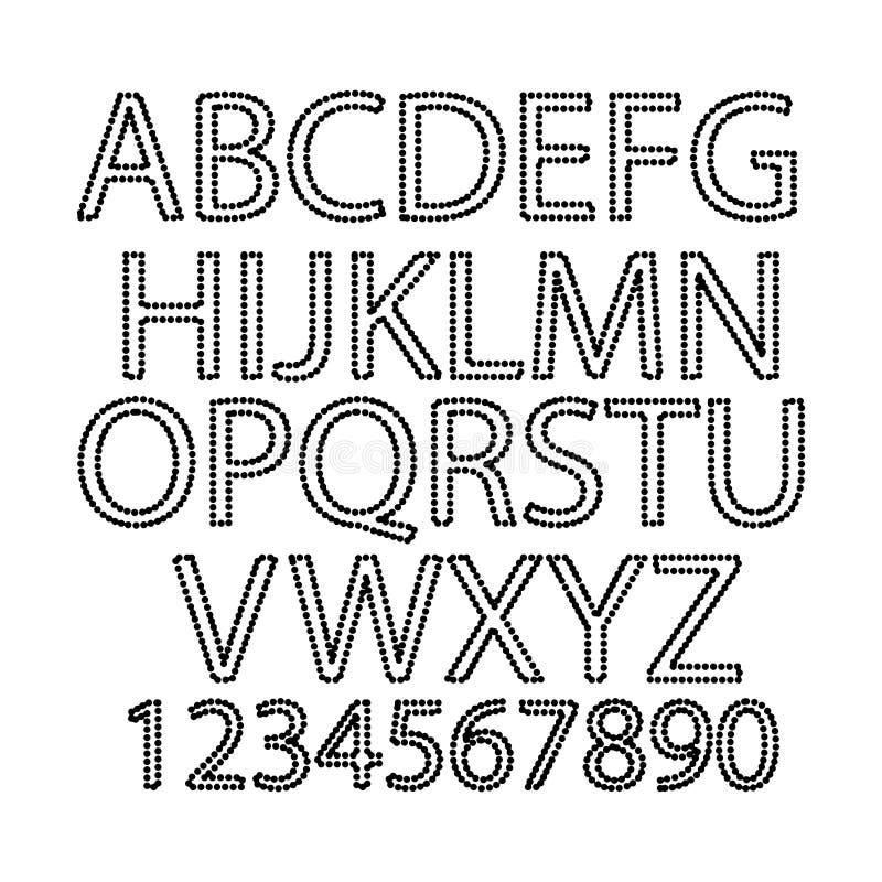 Διανυσματικές απεικόνισης μαύρες επιστολές αλφάβητου Πόλκα επισημασμένες σημείο και ελεύθερη απεικόνιση δικαιώματος
