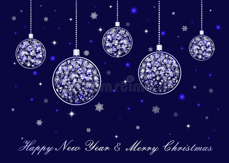 Διανυσματικές ασημένιες σφαίρες Χριστουγέννων στο μπλε υπόβαθρο ελεύθερη απεικόνιση δικαιώματος