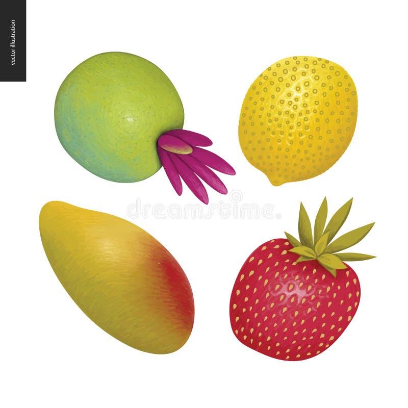 Διανυσματικές αυτοκόλλητες ετικέττες φρούτων διανυσματική απεικόνιση