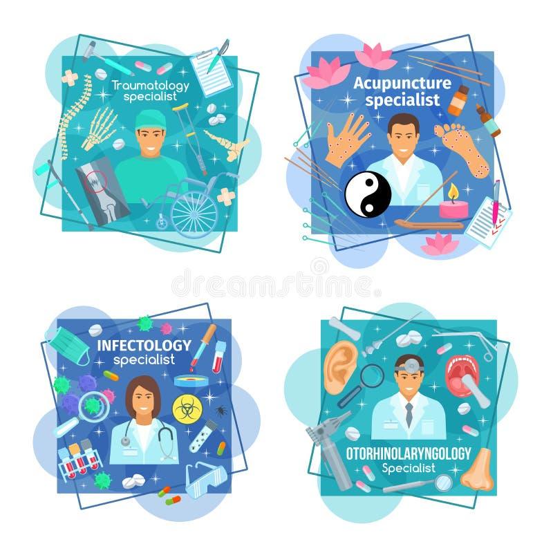 Διανυσματικές αφίσες της ιατρικής και των γιατρών υγειονομικής περίθαλψης ελεύθερη απεικόνιση δικαιώματος