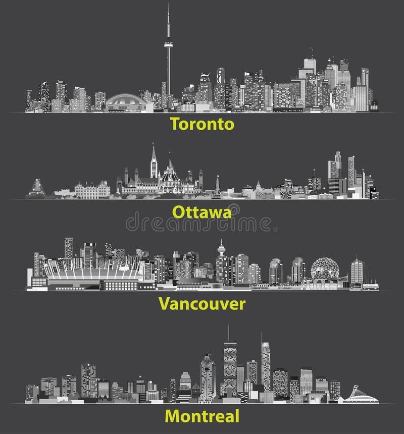 Διανυσματικές αφηρημένες απεικονίσεις των καναδικών αστικών οριζόντων πόλεων τη νύχτα διανυσματική απεικόνιση