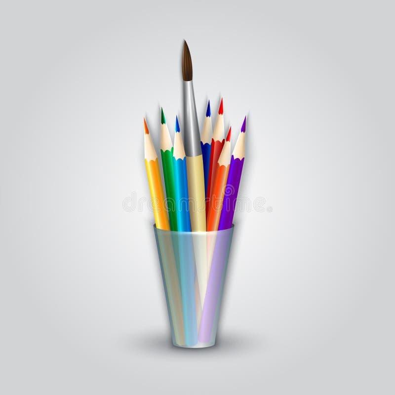 Διανυσματικές αφηρημένες μολύβια χρώματος και βούρτσα χρωμάτων μέσα ελεύθερη απεικόνιση δικαιώματος