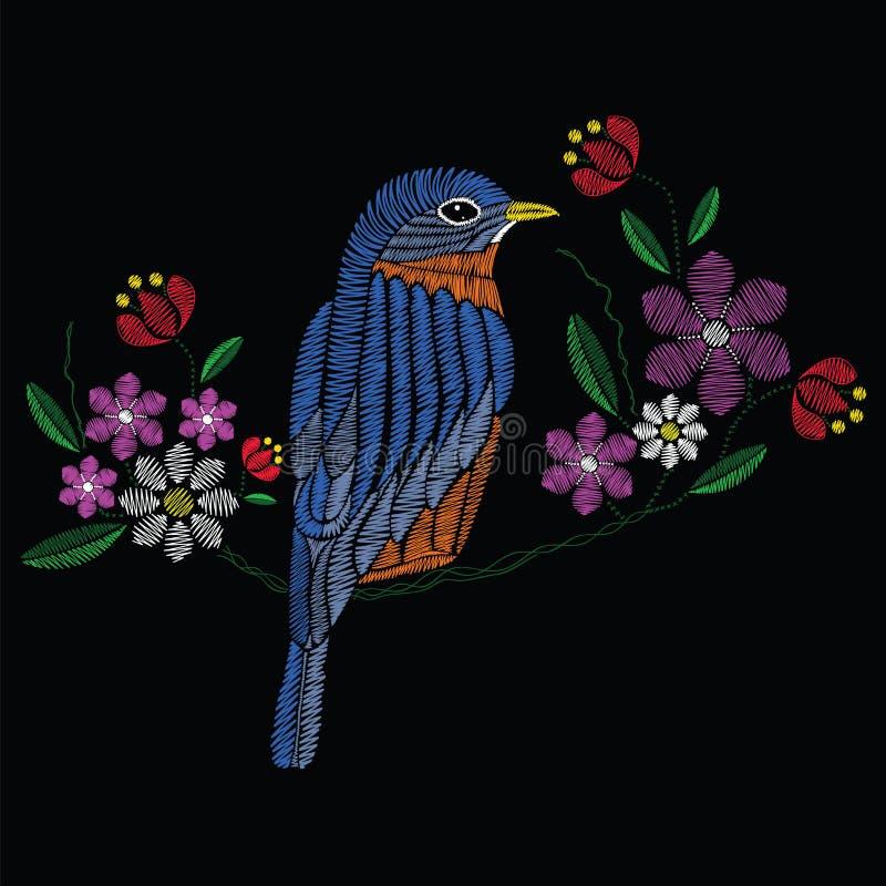 Διανυσματικές βελονιές κεντητικής απεικόνισης με το bluebird wildflower ελεύθερη απεικόνιση δικαιώματος