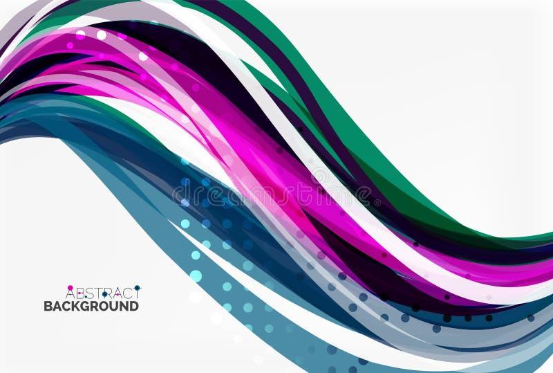 Διανυσματικές γραμμές κυμάτων χρώματος με τη διαστιγμένη επίδραση στο ελαφρύ υπόβαθρο απεικόνιση αποθεμάτων