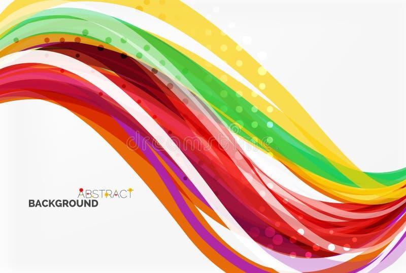 Διανυσματικές γραμμές κυμάτων χρώματος με τη διαστιγμένη επίδραση στο ελαφρύ υπόβαθρο διανυσματική απεικόνιση