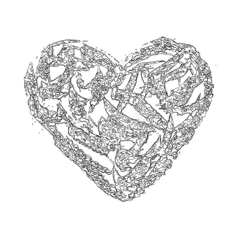 Διανυσματικές γραμμές περιγράμματος καρδιών αφηρημένες λεπτές απεικόνιση αποθεμάτων