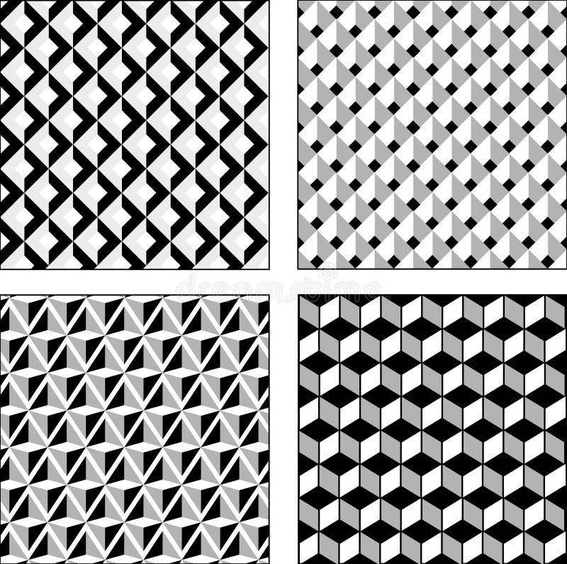 Διανυσματικές γραπτές οπτικές παραισθήσεις συνόλου άνευ ραφής σύσταση στοκ εικόνες με δικαίωμα ελεύθερης χρήσης