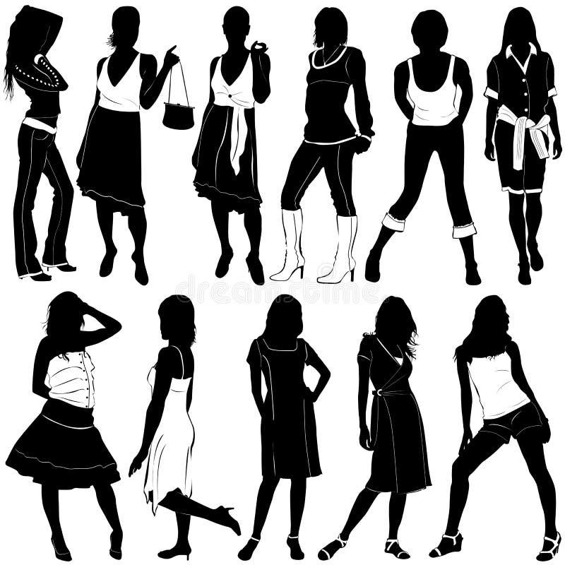 διανυσματικές γυναίκες μόδας ελεύθερη απεικόνιση δικαιώματος