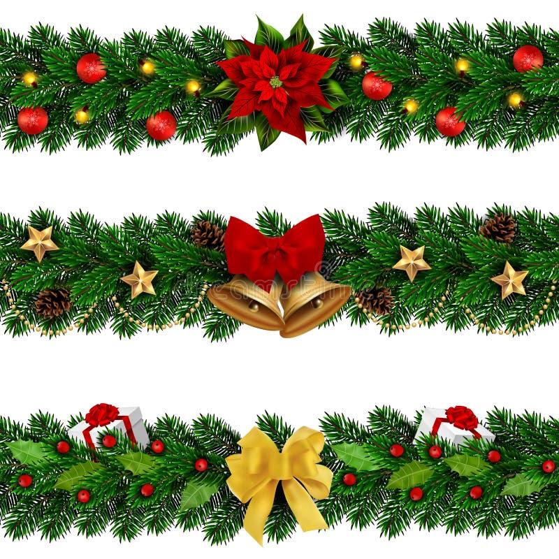 Διανυσματικές διακοσμημένες Χριστούγεννα γιρλάντες seamles απεικόνιση αποθεμάτων