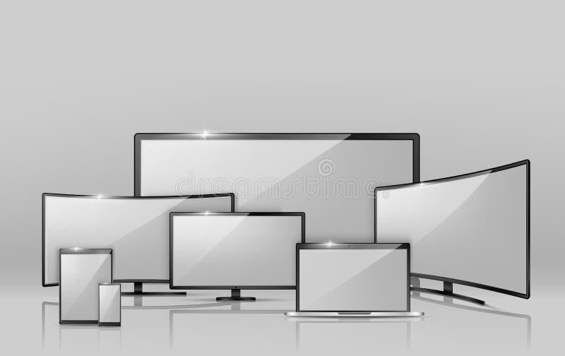 Διανυσματικές διαφορετικές οθόνες - σημειωματάριο, smartphone, TV απεικόνιση αποθεμάτων