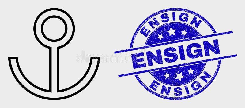 Διανυσματικές εικονίδιο αγκύρων περιγράμματος και Ensign Grunge σφραγίδα διανυσματική απεικόνιση