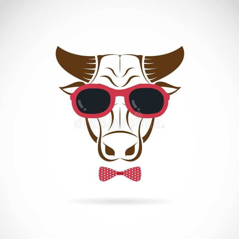 Διανυσματικές εικόνες του ταύρου που φορά τα γυαλιά ηλίου απεικόνιση αποθεμάτων