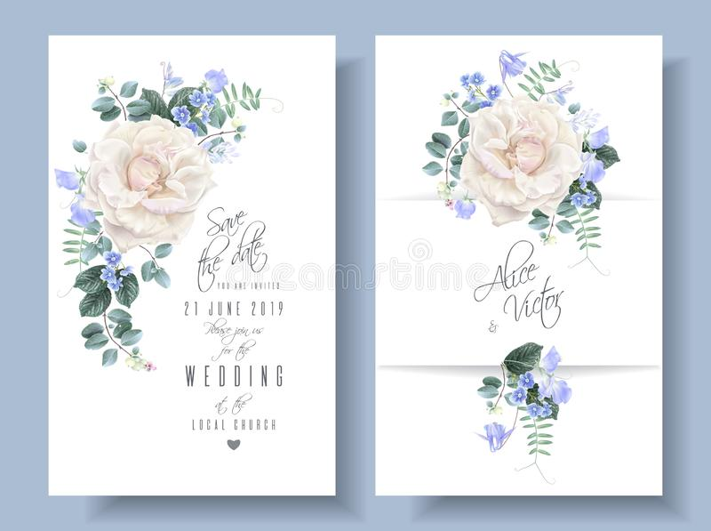 Διανυσματικές εκλεκτής ποιότητας floral γαμήλιες κάρτες με τα τριαντάφυλλα διανυσματική απεικόνιση