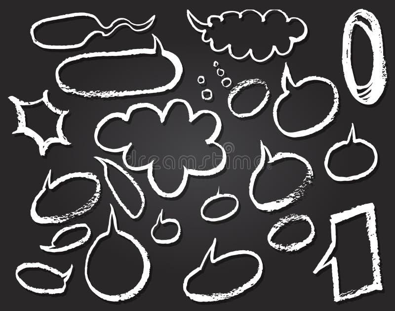 Διανυσματικές λεκτικές φυσαλίδες Doodles στο επιστολόχαρτο διανυσματική απεικόνιση