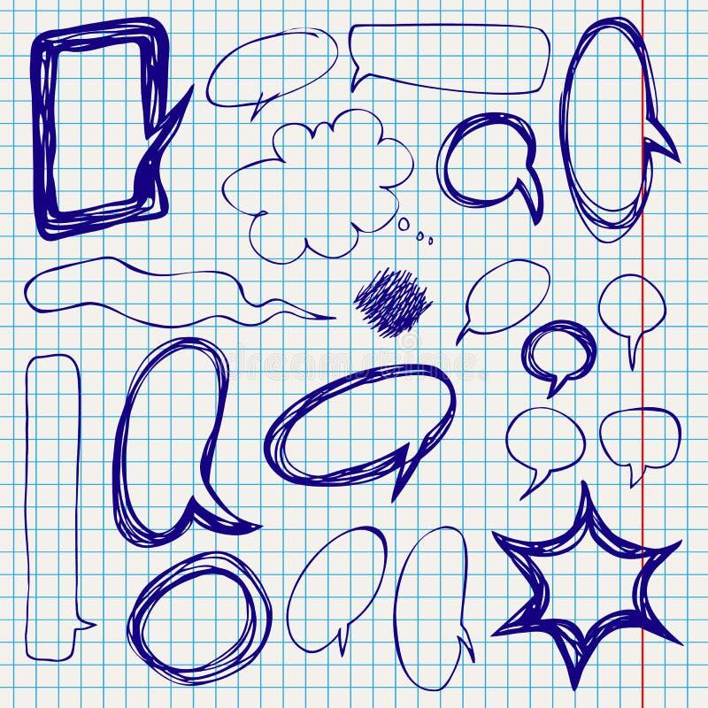Διανυσματικές λεκτικές φυσαλίδες Doodles στο επιστολόχαρτο απεικόνιση αποθεμάτων