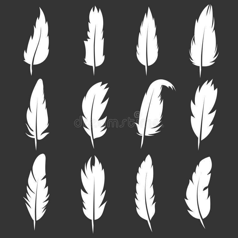 Διανυσματικές εκλεκτής ποιότητας μάνδρες φτερών στο μαύρο υπόβαθρο απεικόνιση αποθεμάτων