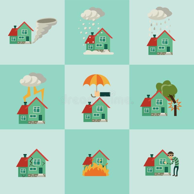 Διανυσματικές επίπεδες ασφαλιστικές έννοιες σπιτιών καθορισμένες διανυσματική απεικόνιση
