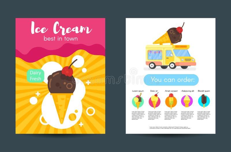 Διανυσματικές επίπεδες αφίσες ύφους με το παγωτό ελεύθερη απεικόνιση δικαιώματος