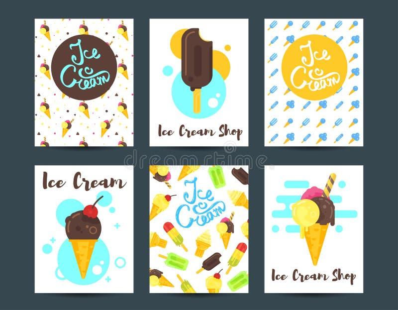 Διανυσματικές επίπεδες αφίσες ύφους με το παγωτό απεικόνιση αποθεμάτων