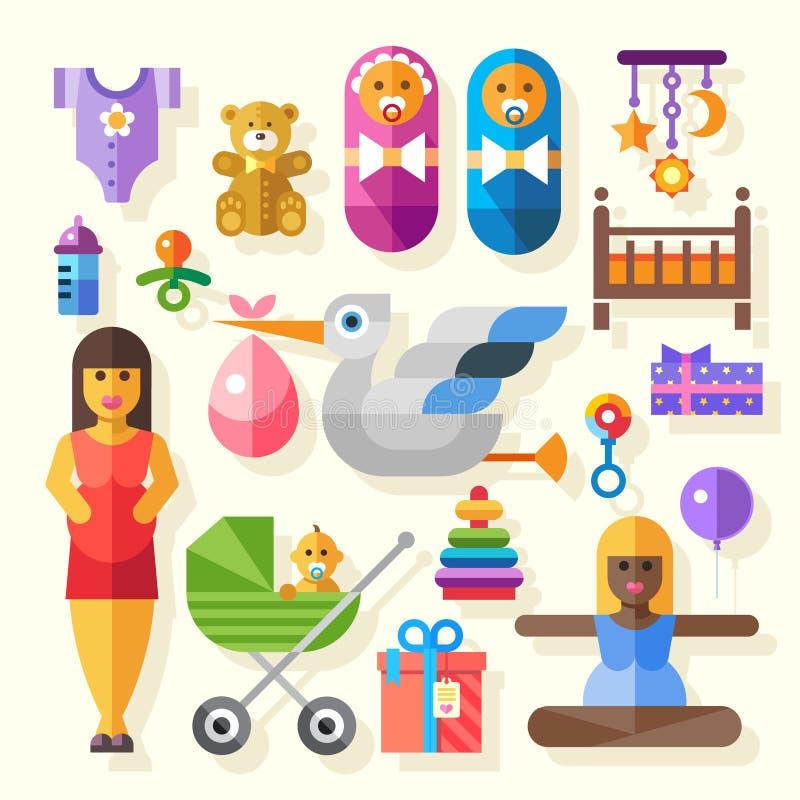 Διανυσματικές επίπεδες σύνολο εικονιδίων χρώματος και γέννηση απεικονίσεων του μωρού απεικόνιση αποθεμάτων
